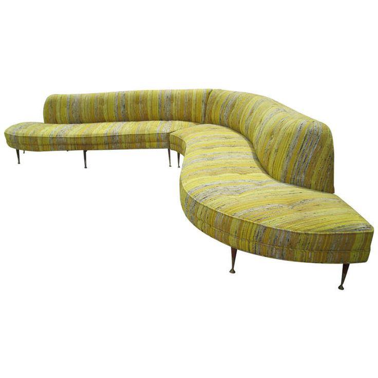 Amazing Vladimir Kagan style 2 Piece Serpentine Sofa Mid century