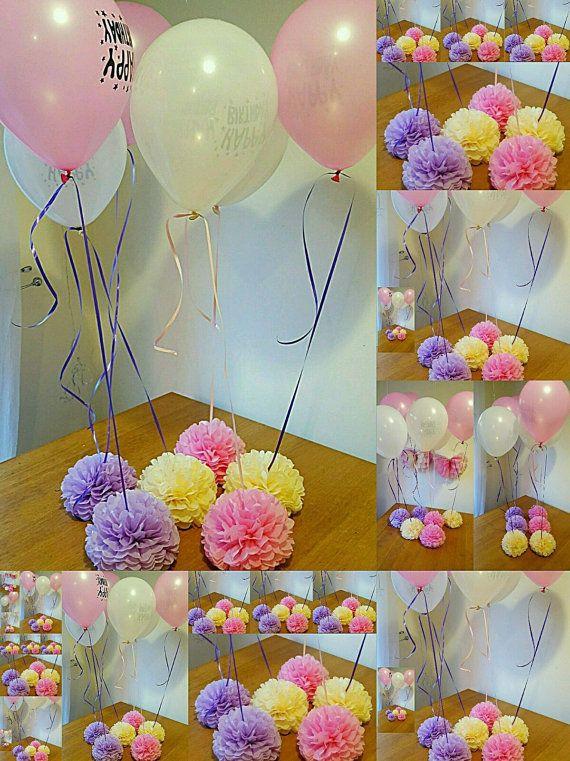 Boda babyshower fiesta bautizo pesos globo, mesa centros de mesa y adornos de pompones de papel de seda... no incluidos globos