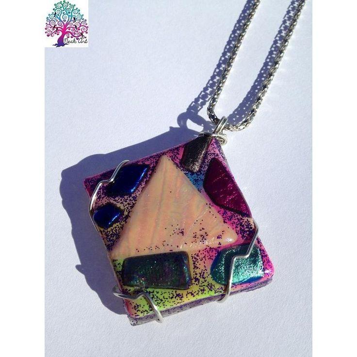 $25.00 OOAK Pendant Diamond Pink by NeckArt on Handmade Australia