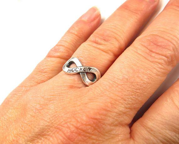 Hockey Infinity Ring Hockey Forever Ring Hockey Jewelry For