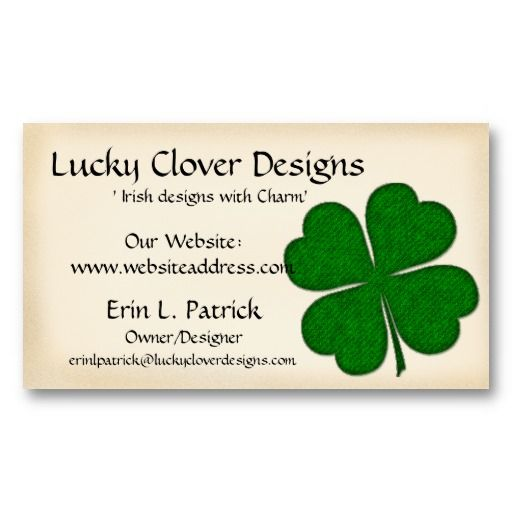 31 best business cards celtic irish images on pinterest business irish business card green fabric clover design reheart Image collections