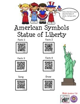 Made by QR QUEENS! WOW! How fun to learn all about American Symbols and facts about the United States by using QR codes! Watch and learn about the Statue of Liberty, Washington Monument, the bald eagle, Liberty Bell, Mount Rushmore, US flag, Uncle Sam, listen to the National Anthem, Yankee Doodle, and so much more. K-5th $