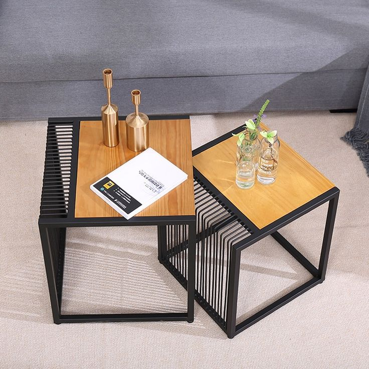 Creative Iron Solid Wood Small Square, How To Decorate A Small Square Coffee Table