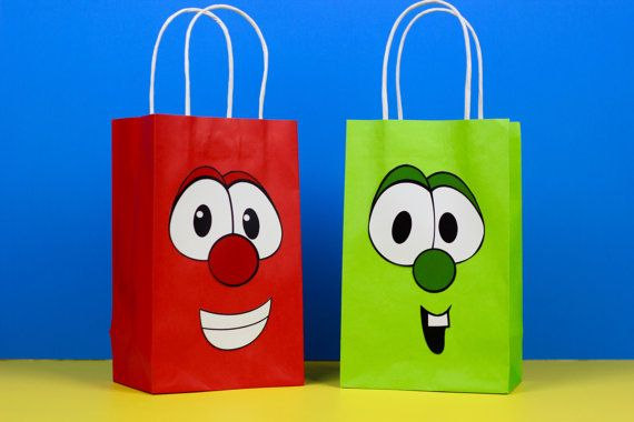 Veggie Tales Favor Bag Instant by SimplyMadewithSam on Etsy