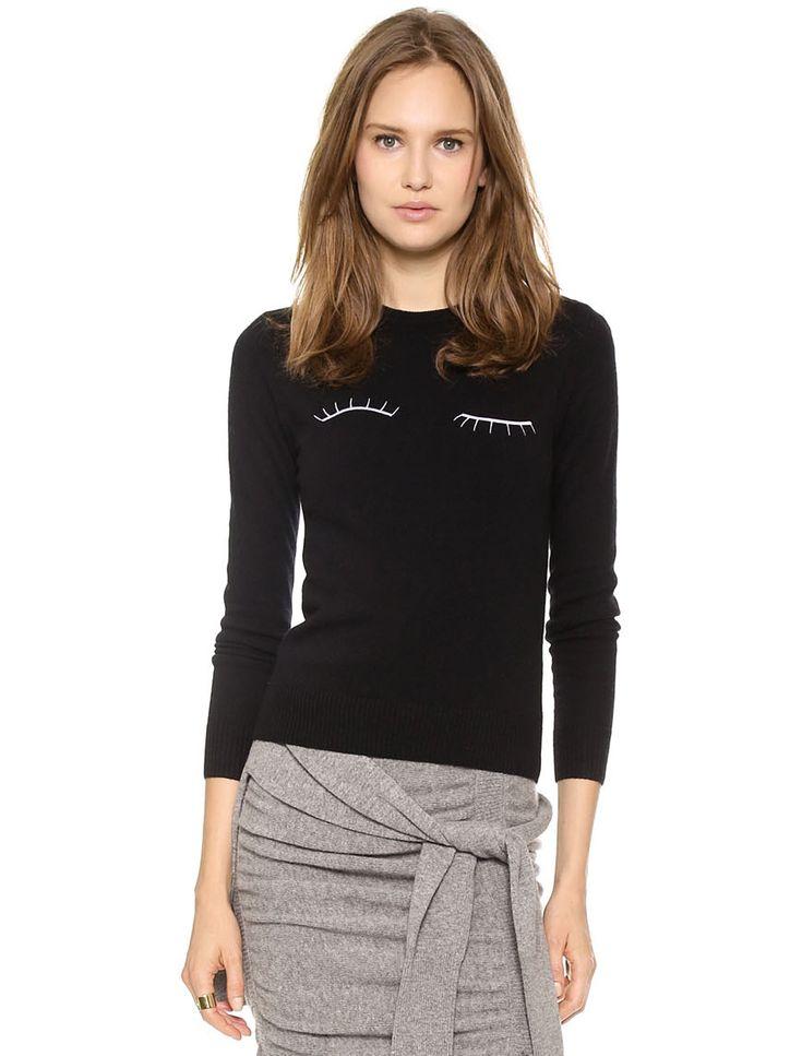 Black Long Sleeve Eyelashes Embroidery Sweater - Fashion Clothing, Latest Street Fashion At Abaday.com