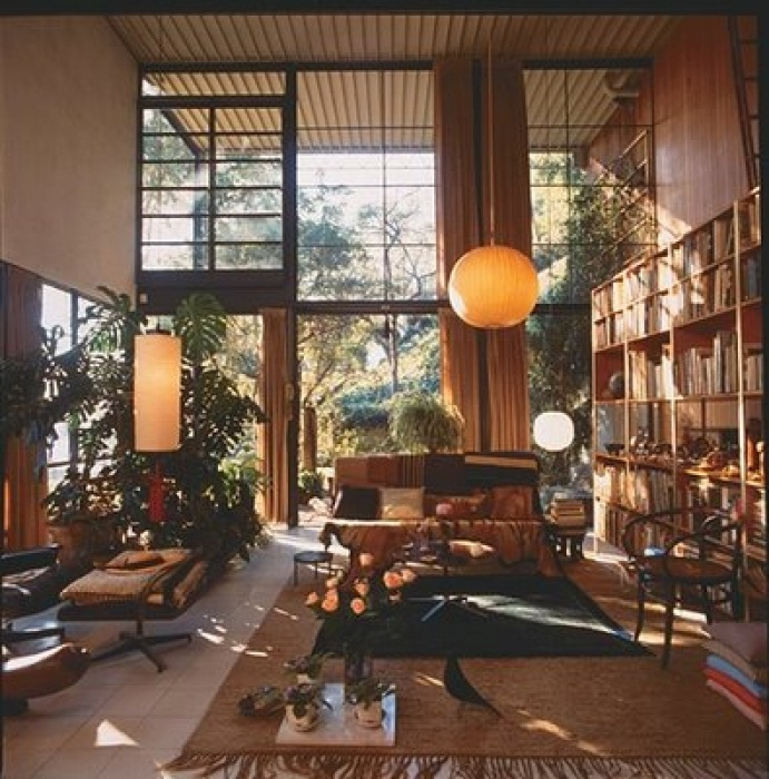High ceiling living room with plenty of wood