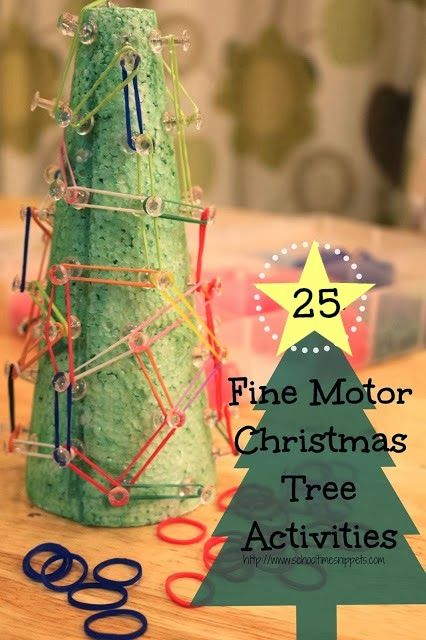 School Time Snippets: Christmas Tree GeoBoard and 24 more Fine Motor Christmas Tree Activities {Fine Motor Friday}