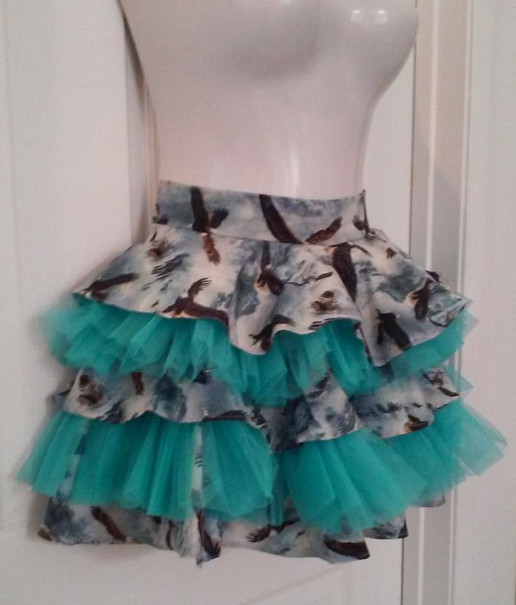 """#Vintage #PlusSize Serving #Apron - Handmade OOAK """"Naughty Housewife"""" Tiered Soaring #Eagle #Half-Apron with #Teal #Tulle Bouncy Layers by FugitiveKatCreations on Etsy"""