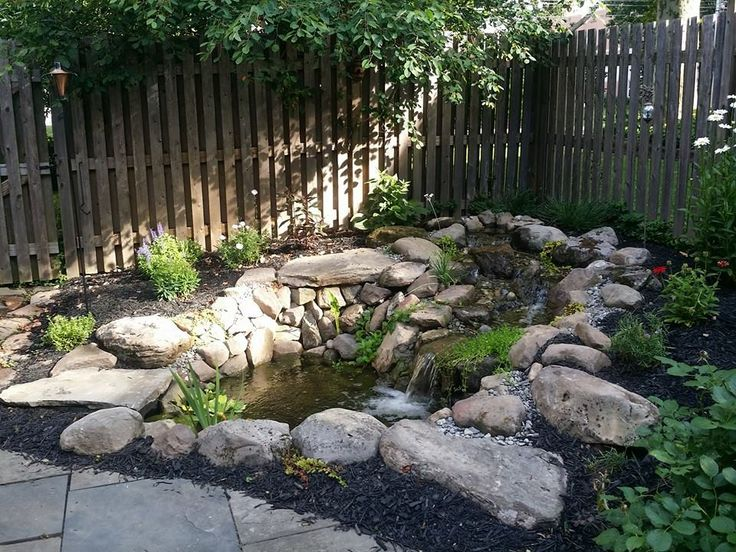 Beautiful backyard pond with surrounding landscaping. #backyard #pond #waterfall #landscape #garden