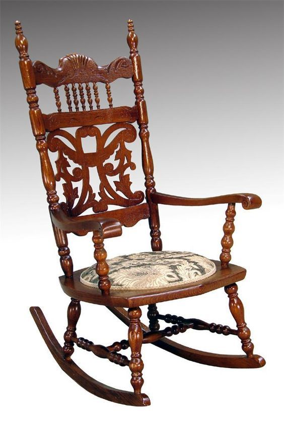 16015 Antique Victorian Carved Oak Press Back Rocker Rocking Chair: