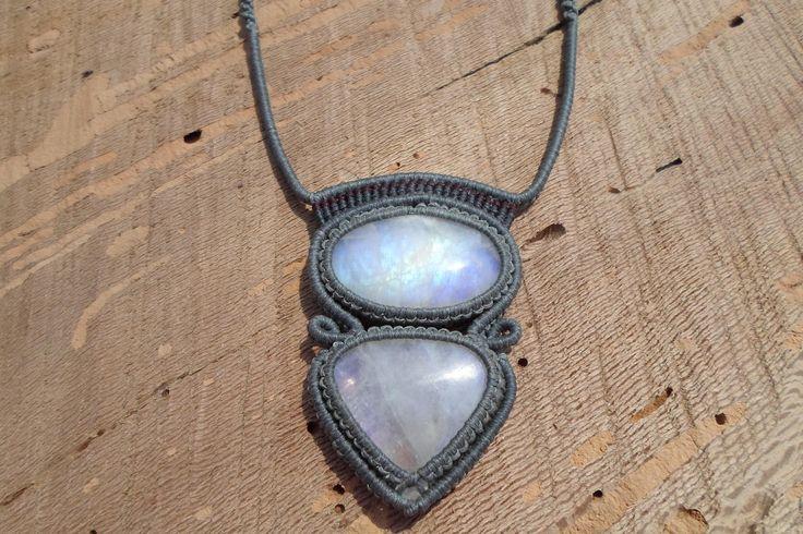rainbow moonstone macrame necklace,macrame jewelry,double gemstone necklace,unique macrame pendant,adjustable length cabochon necklace, by ARTEAMANOetsy on Etsy