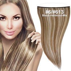 flip in extensions,braun-hellblond-mix,#6-#613,50cm,strähnchen, haarverlängerung selber machen