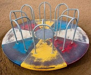 You don't see these on playgrounds anymore or see-saws/teetertooters or monkey bars or------