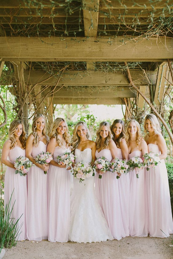 floor length pink bridesmaid dresses @weddingchicks