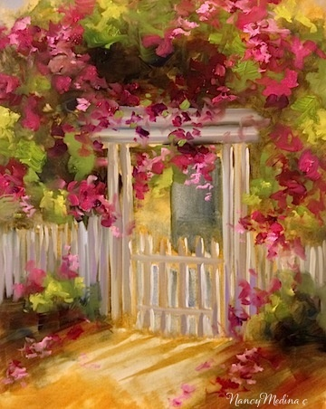 Coronado Island Sunset Arbor by Nancy Medina Oil ~ 16 x 12