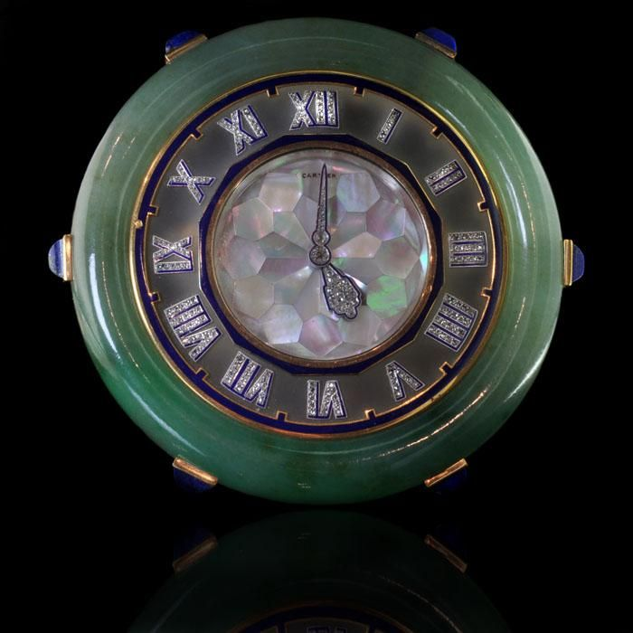 CARTIER Paris Art Deco c1925 Beautiful jade, mother of pearl and lapis lazuli desk clock