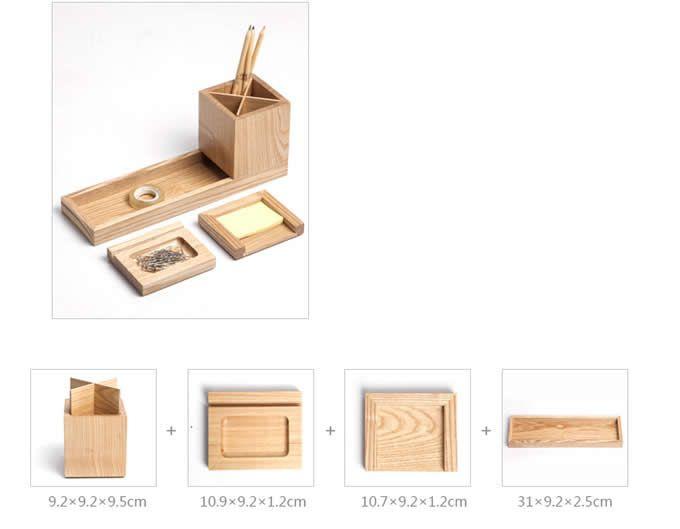 Wooden Desk Organizers Set 4 Piece Modern Desk Accessories