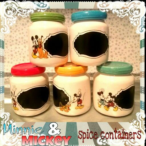 Vintage mickey and minnie mouse spice containers. I took spice containers from Michaels and mod podge vinyl vintage stickers.