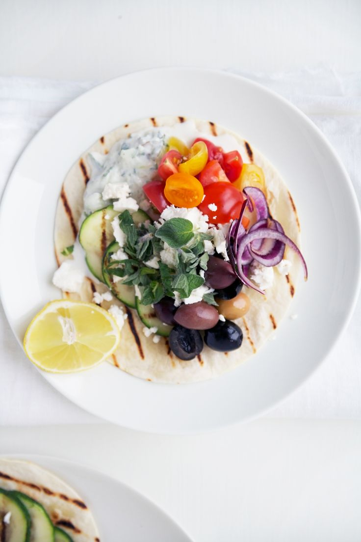 Greek Tacos w/ Tzatziki, Vegetables, Olives and Feta Cheese
