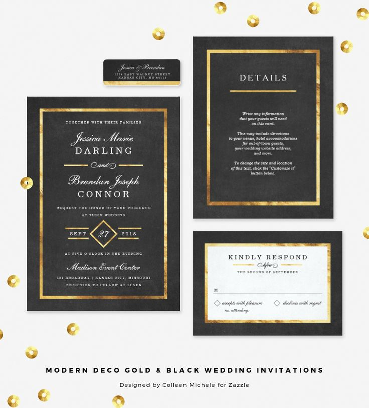 Love these for a Gatsby wedding! | Modern Art Deco Gold & Black Wedding Invitations by Colleen Michele for Zazzle