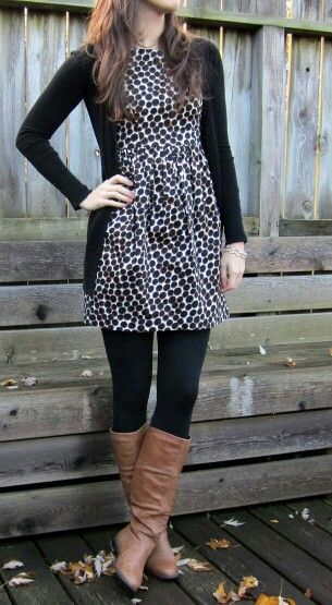 Leggings make the dress work. Different boots though