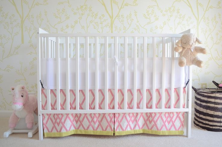Absolutely drooling over this DIY crib skirt: Inspiration Nurseries, Projects Nurseries, Green Girls Nurseries, Baby Girls, Get The Look, Braemor Fabrics, Fabrics Inspiration, Girls Rooms, Cribs Skirts Diy'S