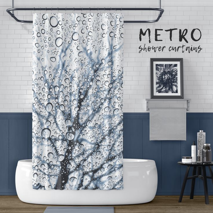 Slate Blue Tree With Raindrops Print Shower Curtain Blue Shower