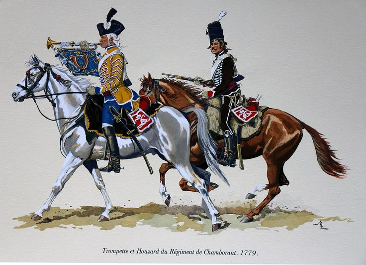 French; 2nd Hussars (Chamborant), Trumpeter & Hussar, 1779 by M. Dugué Mc Carthy