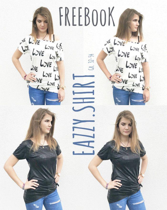 FREEEBOOK # 50 EAZZY.SHIRT GR. 32-54 Du suchst nach DEM vielseitigen Shirt-Freebook für den Sommer? Für den Strand, das Schwimmbad oder doch lieber casual