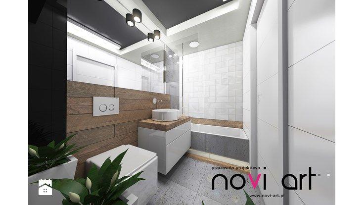 Apartament Borkowska 2 - Kraków - Projekt 2014 - Średnia łazienka w bloku bez okna, styl nowoczesny - zdjęcie od Pracownia projektowa Novi art