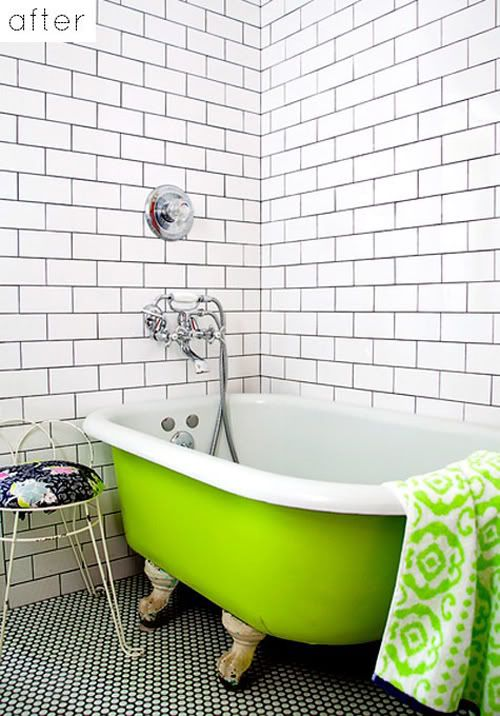 White Subway Tile with Dark Grout - Little Green Notebook