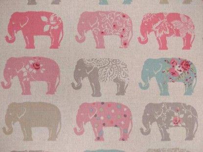 Clarke & Clarke Elephants ZF0722/01 pastel curtain fabric
