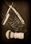 Vintage Barber Photos - Barber - Tools for a Close Shave - black and white by Paul Ward