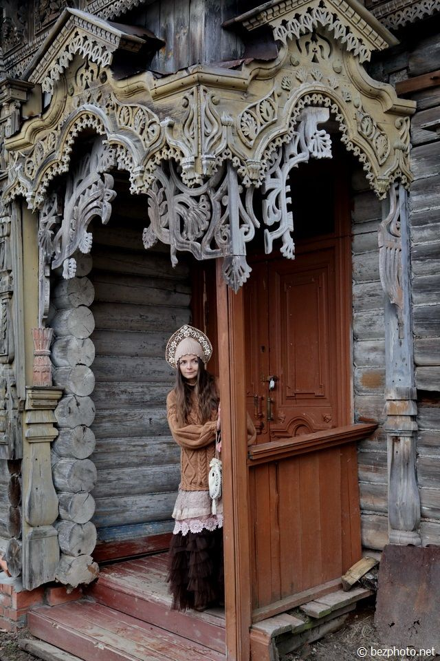 The entrance door of a Russian wooden house