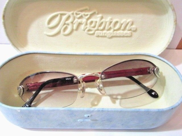 "BRIGHTON SUNGLASSES "" Misty"" DESIGNER WITH CASE FASHION ACCESSORY ETCHED HEARTS 