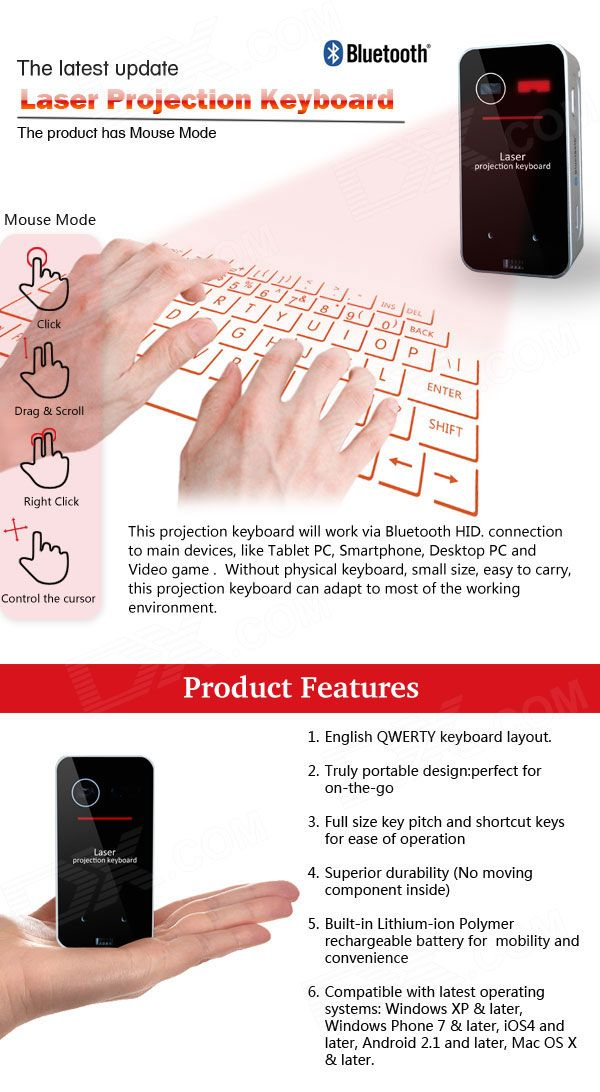 Projection Wireless Bluetooth Virtual Keyboard w/ Laser Mouse for Computer, Tablet, Phone - Black - Free Shipping - DealExtreme