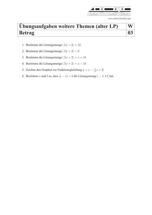 Betrag Berechnen Ubungen Und Aufgaben Mit Losungen Matheaufgaben Gleichung Ubungen
