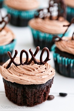 How to make letters for your cupcakes- Melt chocolate then write with it on parchment paper. Let dry then put it on your cupcakes!