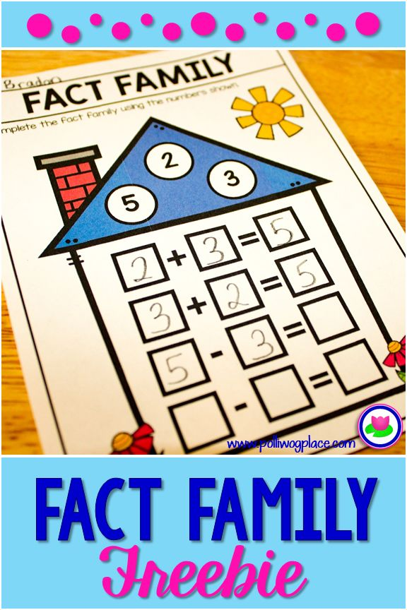 Math Fact Family Houses - Free Sample Pack includes addition and subtraction as well as multiplication and division.