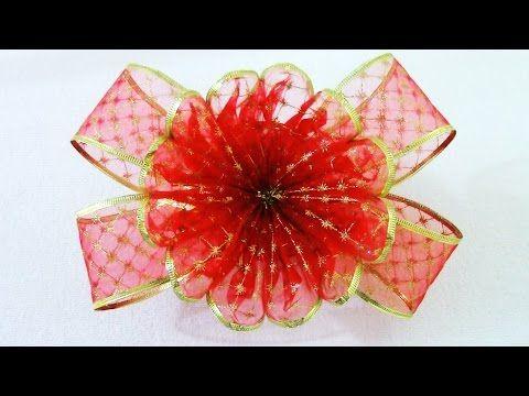 Moños y Flores de Navidad en organza Christmas ribbons flowers - YouTube