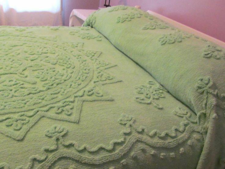 Vintage Chenille Bedspread ~ Plush Green on Green - 94 x 104