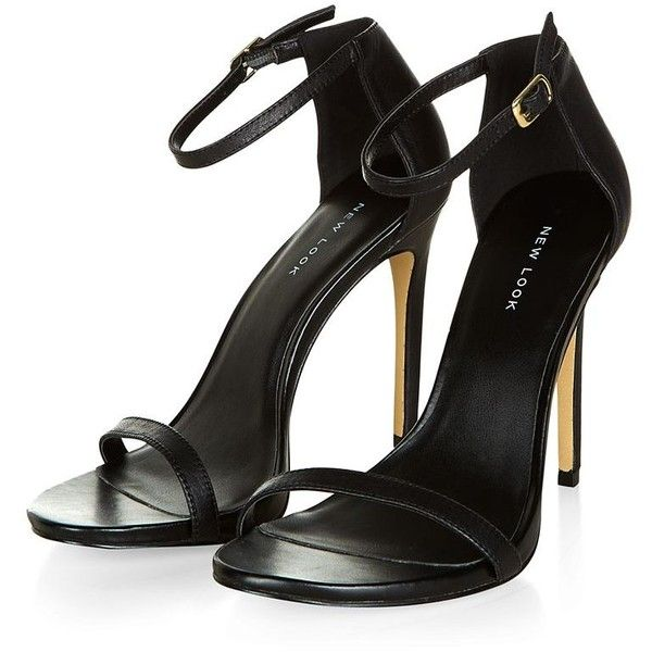 Black Leather Ankle Strap Heels ($53) ❤ liked on Polyvore featuring shoes, sandals, heels, high heels, zapatos, black sandals, leather heel sandals, open toe sandals, ankle tie sandals and black leather shoes