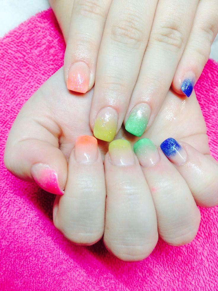 Rainbow colour blend acrylic nails🌈