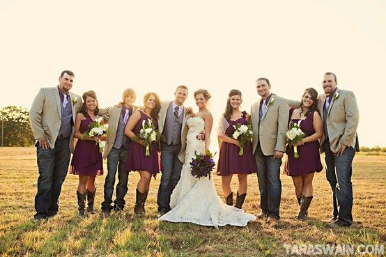 Cute!!! Love the cowboy boots! Thoughts on groom/groomsmen in nice jeans?? I think I could go for that, especially for casual farm wedding :-)