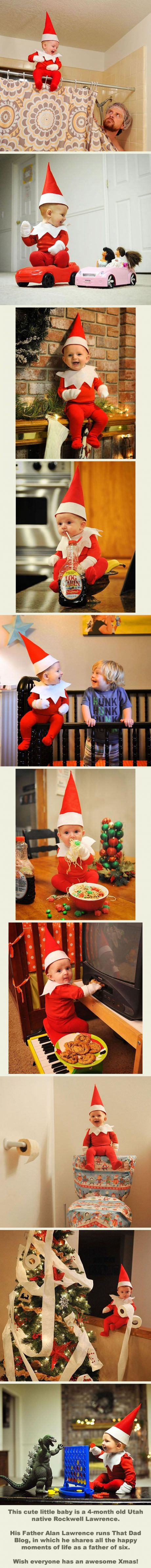 This Baby Elf On The Shelf Is Probably The Cutest Christmas Decoration Ever! (By thatdadblog on Instagram)