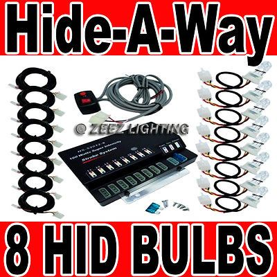 ﹩67.95. 160W 8 HID Bulb Car Truck Hide-A-Way Hazard Warning Strobe Light System Kit C02    Manufacturer Part Number - HAW-HID08, Warranty - Yes, Color - White, Fitment - Universal Fit,