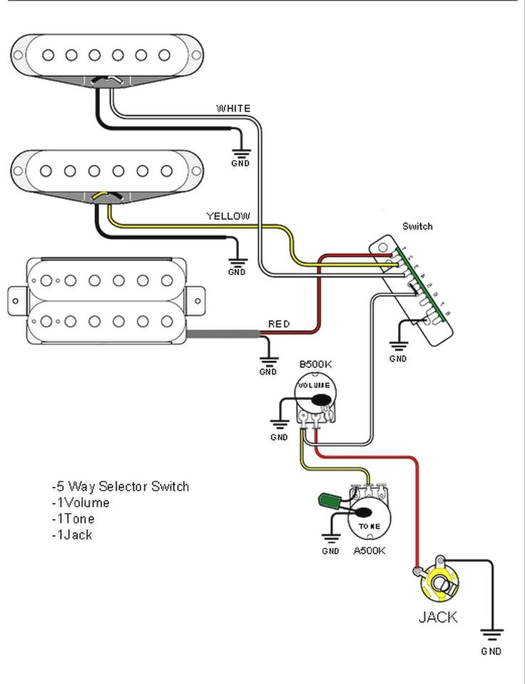 guitar wiring diagrams 500k tone pots