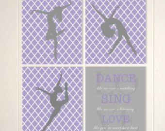 Girls room art, trellis art for girls, dance art, dancer wall art, girls dance decor, lattice, girls quote, dance like no one..., set of 4