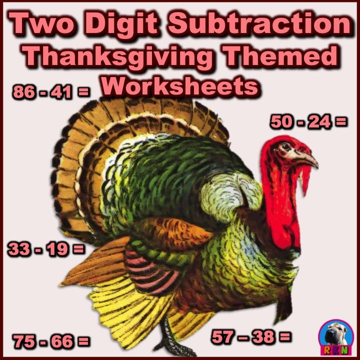 Thanksgiving/Fall Themed Two-Digit Subtraction Math Worksheets - 15 pages (Horizontal) They include...  3 pages without regrouping. 5 pages of regrouping the ones. 2 pages of regrouping with a zero in the ones place. 5 pages of a mix of all of the above. They can be used as extra practice, homework, math sprints, or as basic assessments. by Ryan Nygren (cover clipart by wp clipart - public domain - http://www.wpclipart.com/holiday/thanksgiving/more_turkeys/turkey_large.png.html )