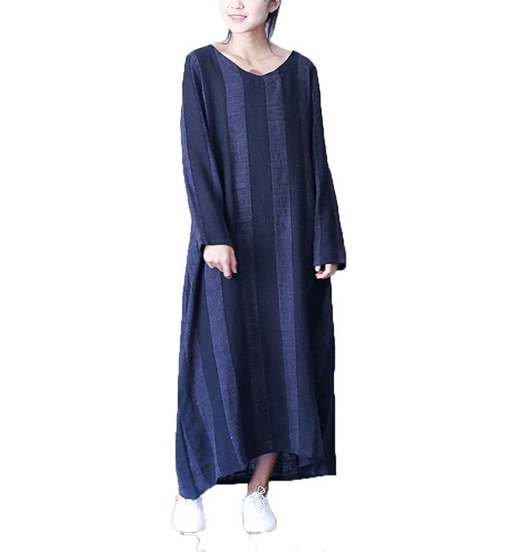 MelBedy Women's Cotton Linen Long Sleeve Loose Fit Stripes V-neck Robe Dress ** Additional details at the pin image, click it  : Plus size dresses